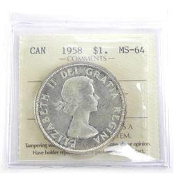 Canada 1958 Silver Dollar MS-64. ICCS.