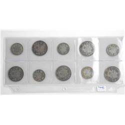 Lot (10) Canada Early Silver Coins