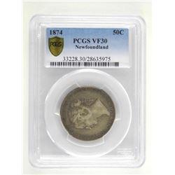 1874 Newfoundland 50 Cent PCGS. VF30