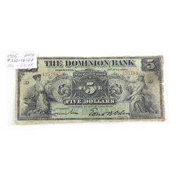 Dominion Bank 1905 5.00 Good.