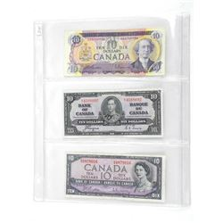 Group of 3 Bank of Canada 10.00 - 1937, 1954, 1971