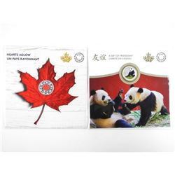 Lot (2) RCM .9999 Fine Silver $5.00 and Panda Coin