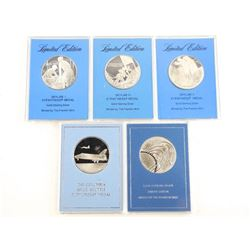 Grouping of (5) Solid Sterling Silver Medals, Spac