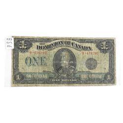 Dominion of Canada 1923 One Dollar Note. Black Sea