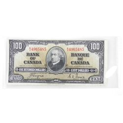 Bank of Canada 1937 One Hundred Dollar Note. C/T