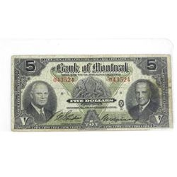 1942 Bank of Montreal Five Dollar (VG)