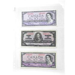 Group of 3 Bank of Canada 10.00 - 1937, 1954 MP an