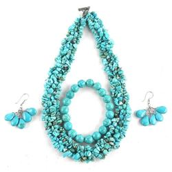 Turquoise Jewelry Set, Bead Necklace, Bracelet and