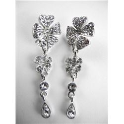 Ladies MMCrystal Earrings with White Gold Plating.