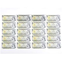 Lot (20) Bank of Canada 1973 One Dollar Notes.