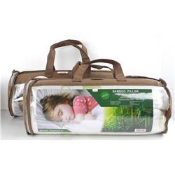 Pair - Bamboo Memory Foam Pillows 'Queen Size' 'NE