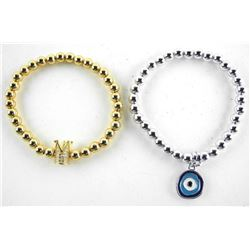 Lot (2) Gold and Silver Plated bead Bracelets Flex