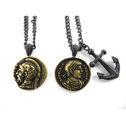 Lot (2) Ancient Coin Pendant and Chain