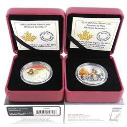 Lot (2) .9999 Fine Silver $20.00 Coins 'Ottawa Sen