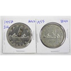 Lot (2) 1957 Canada Silver Dollars Regular Waterli