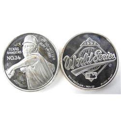 Lot (2) .999 Fine Silver 1oz Medals 'Nolan Ryan an