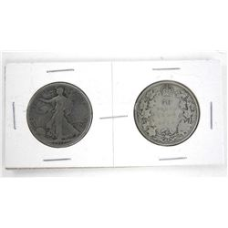 Lot (2) CANADA/USA Silver 50 Cent 1917