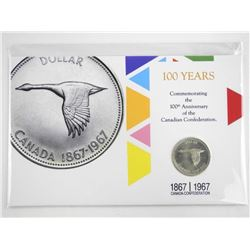 1867-1967 Canada Silver Dollar - 100 Years with Di