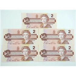 Lot (5) 1986 Bank of Canada 2.00 In Sequence Crisp