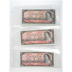 Lot (3) Bank of Canada 1954 Two Dollar Note 1x * R