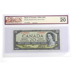 Bank of Canada 1954 Twenty Dollar Note. Devil's Fa