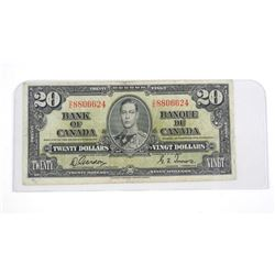 Bank of Canada 1937 Twenty Dollar Note. G/T