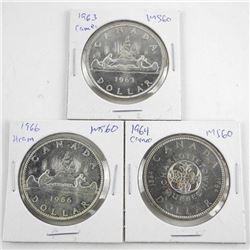 Lot (3) Canada Silver Dollars 1963, 1964, 1966 'Ca