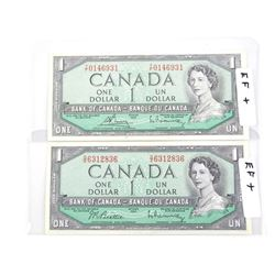 Lot (2) Bank of Canada 1954 One Dollar Notes. 2 Si