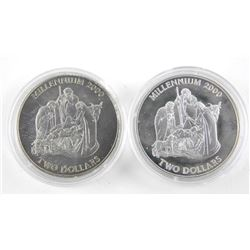 Lot (2) Bahamas 2.00 Coins KM#215 Silver and Cupro