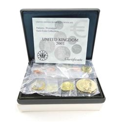 England 2003 Proof Pattern Euro Set with 5 Euro Cr