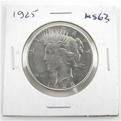 1925 Silver Peace Dollar MS63