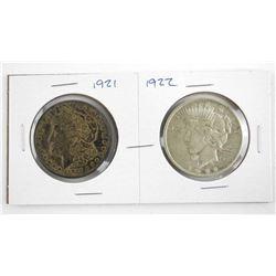 Lot (2) USA Silver Dollars