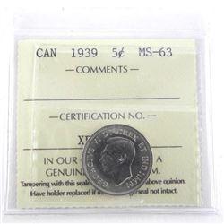 1939 Canada 5 Cent MS63. ICCS.