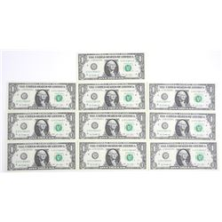 Lot (10) USA 1.00 Crisp UNC In Sequence