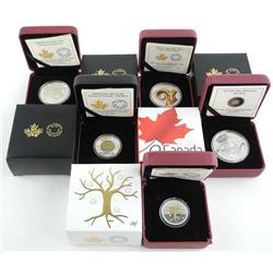 RCM Grouping of 5 .9999 Fine Silver Coins. LE/C.O.