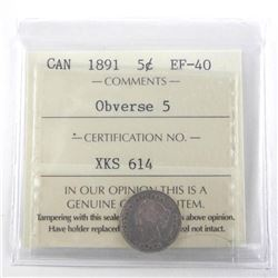 1891 Canada Silver 5 Cent. EF40. Obverse 5 ICCS