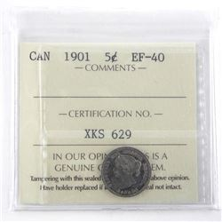 1901 Canada Silver 5 Cent EF-40 ICCS