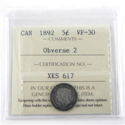 1892 Canada Silver 5 Cent VF-30 ICCS