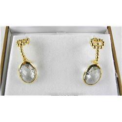 (BB6) 925 Silver Fancy Earrings - (10.07ct) Praseo