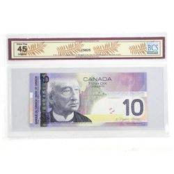 Bank of Canada 2005 Ten Dollar Note. Printed in 2007 EF45 BCS