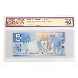 Bank of Canada 2006 Five Dollar Note. Printed in 2008 EF40 BCS
