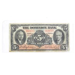 The Dominion Bank 1935 Chartered 5.00