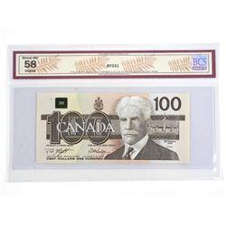 Bank of Canada 1988 One Hundred Dollar Note. AU58 Original BCS