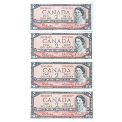 Group of (4) Bank of Canada 1954 2.00 GEM UNC - In SequenceÂ