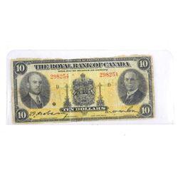 Royal Bank of Canada 1935 Ten Dollar Note