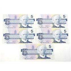 Lot (5) Bank of Canada 1986 Five Dollar Note. Bird Series. UNC (GOT) Between (7.7-7740m) 20,000 Prin