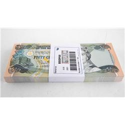 Central Bank of Bahamas Original Brick (100) Fifty Cents in Sequence GEM UNC