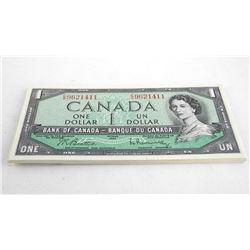 Lot (20) Bank of Canada 1954 Modified Portrait Crisp UNC 1.00