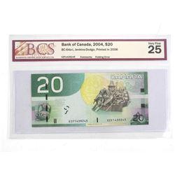 Bank of Canada 2004 Twenty Dollar Note. Printed 2006. VF25. BCS Folding error