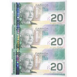 Group of (3) Bank of Canada 2004 Twenty Dollar Note.